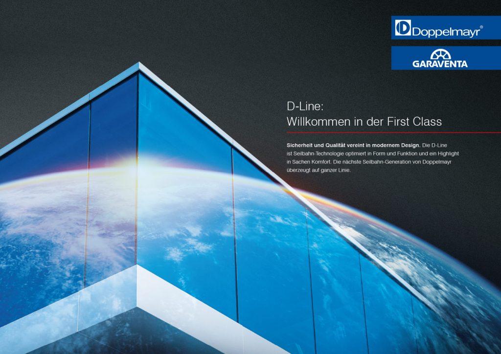 D-Line Imagebild mit Weltkugel und Gebäude