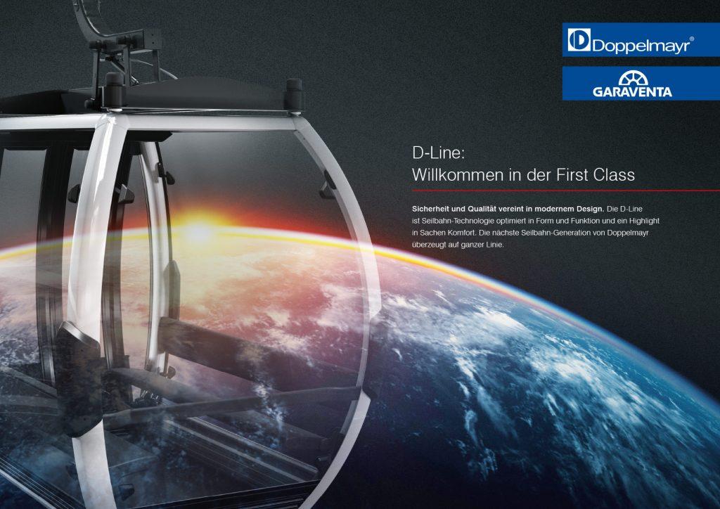 D-Line Imagebild mit Weltkugel und Kabine