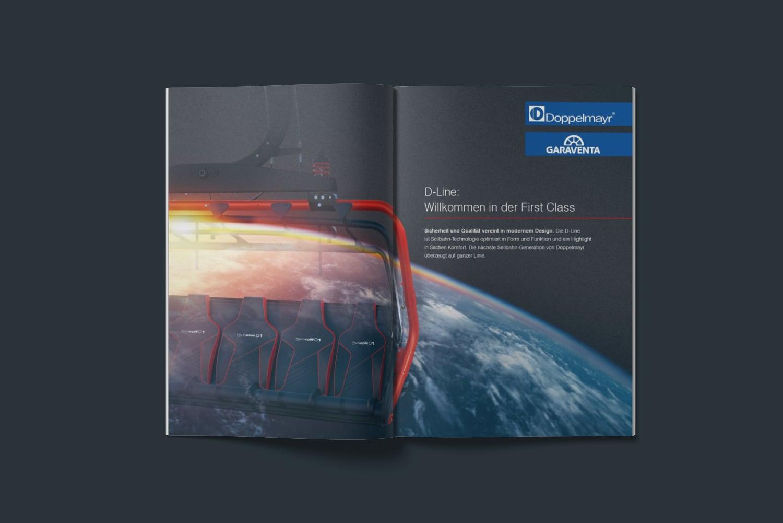 D-Line Imagebild mit Weltkugel und Sessel