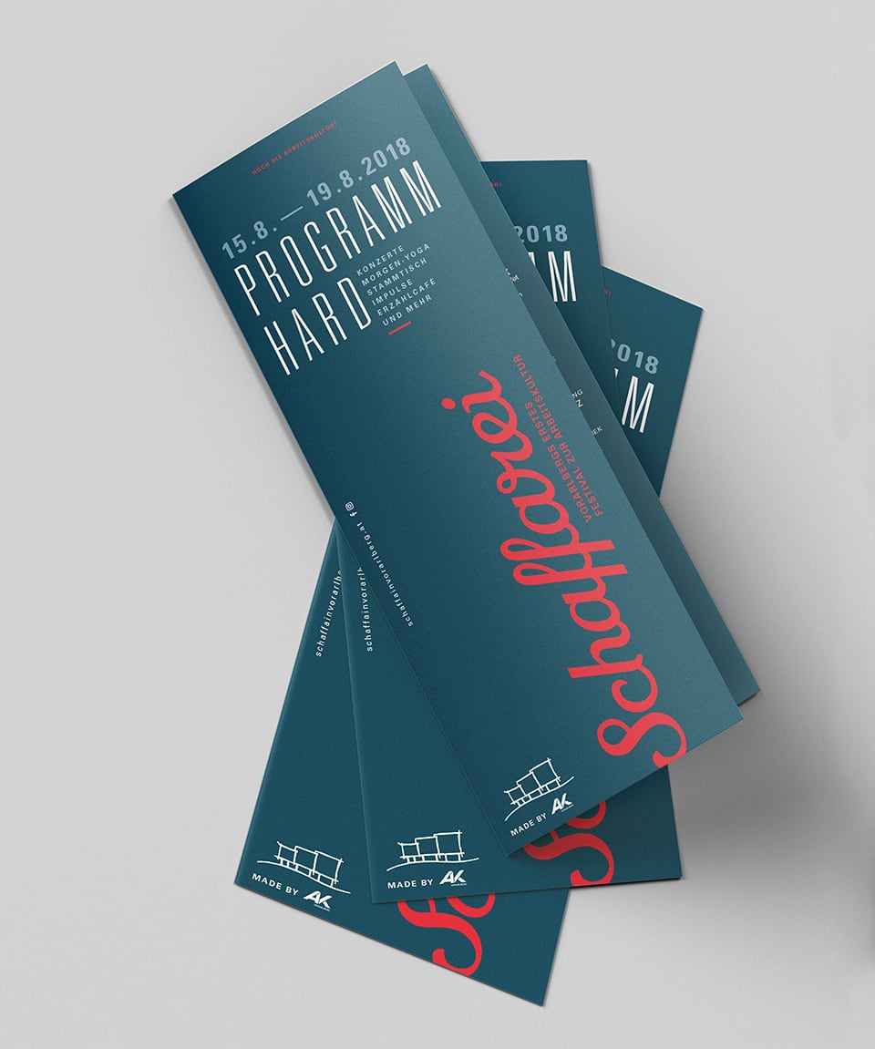 Programmheft des Schaffarei Festivals in Hard im Stedepark.