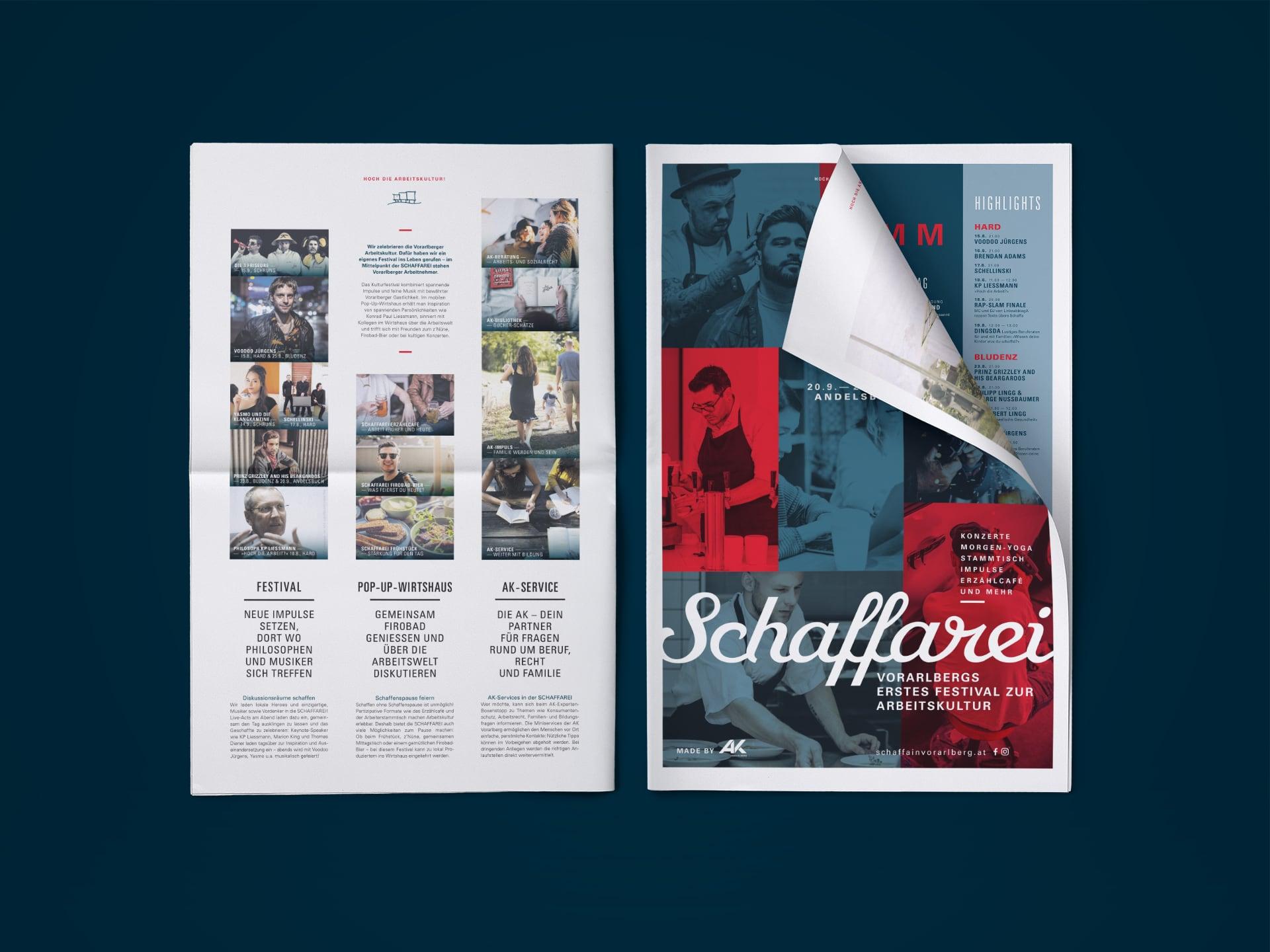 Beilage beim AK Magazin Aktion für das Schafferei Festival der AK Vorarlberg.