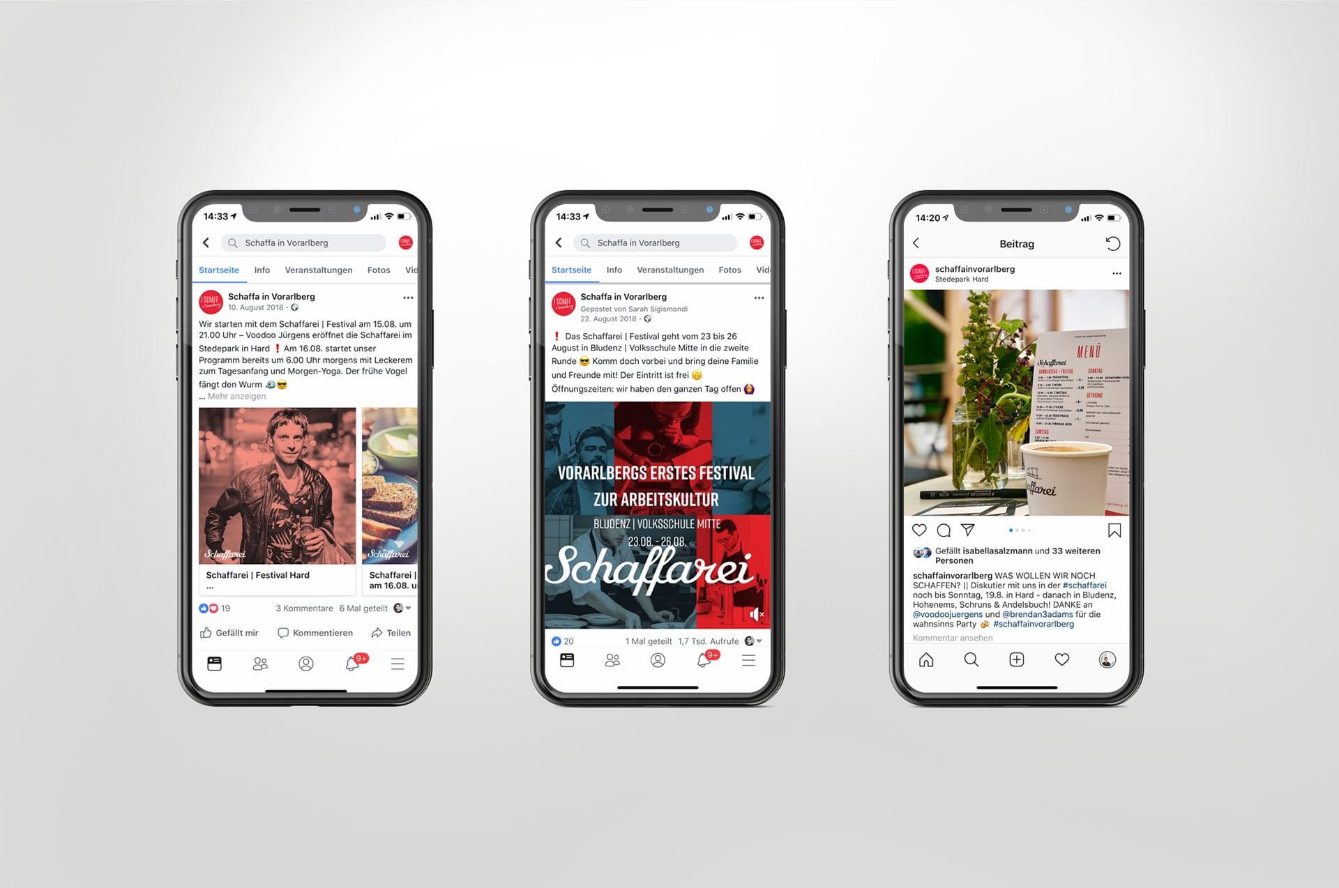 Handys mit Facebook Social-Media Posts von Schaffa in Vorarberg.