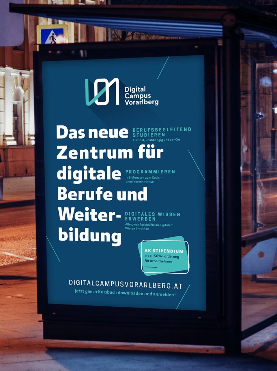 Citylight Bewerbung des Digital Campus Vorarlberg mit Das neue Zentrum für digitale Berufe und Weiterbildung