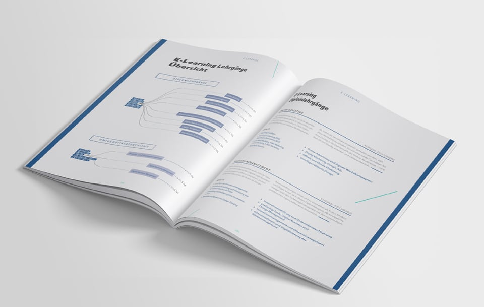 Innenseite im Kursbuch zum Thema E-Learning Lehrgänge Übersicht