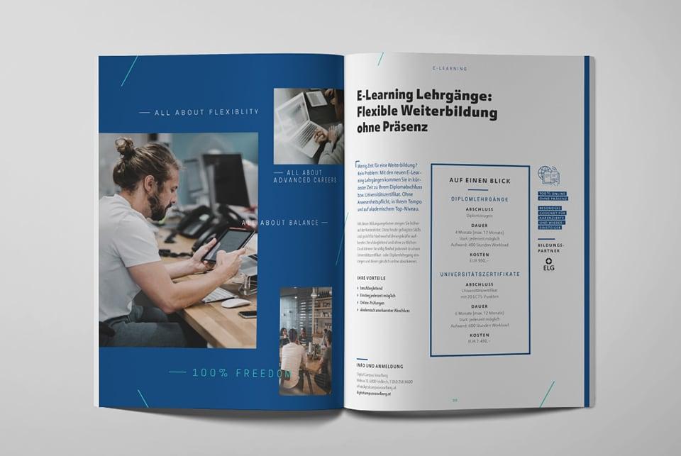 Innenseite im Kursbuch zum Thema E-Learning Lehrgänge