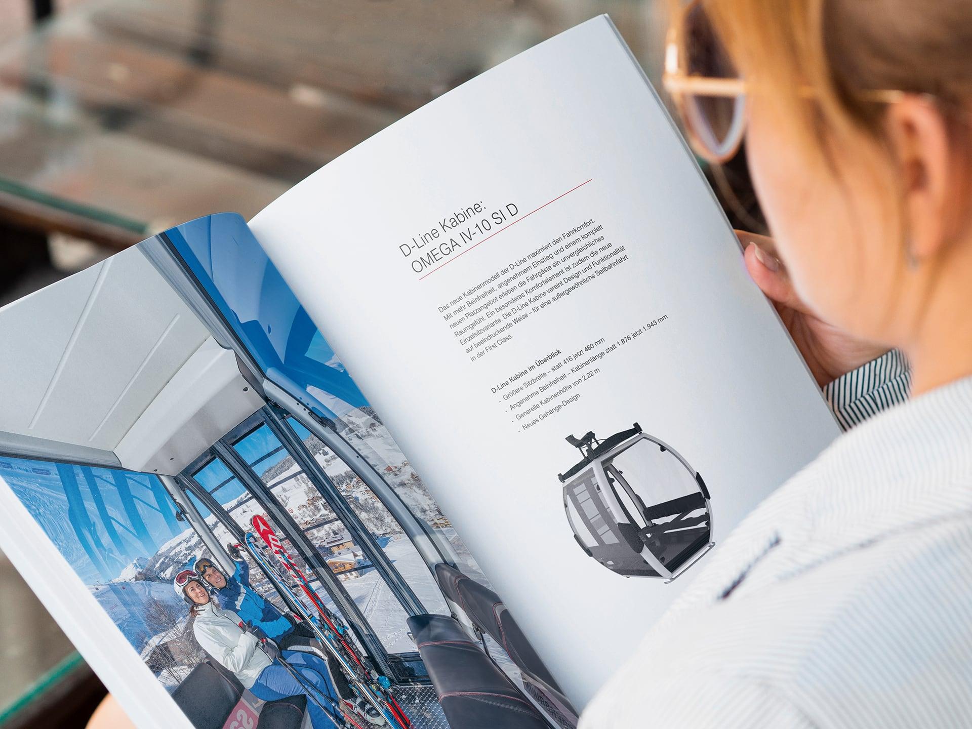 Innenseite der D-Line Broschür zum Thema Kabinen