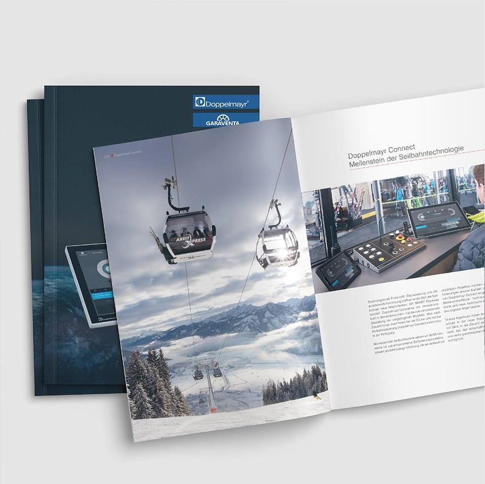 Cover und Innenseite der Doppelmayr Connect Broschüre