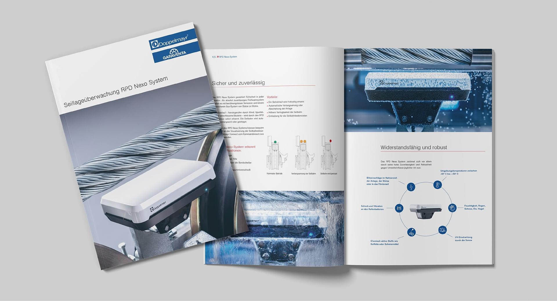 Cover und Innenseite der Doppelmayr RPD Nexo Broschüre