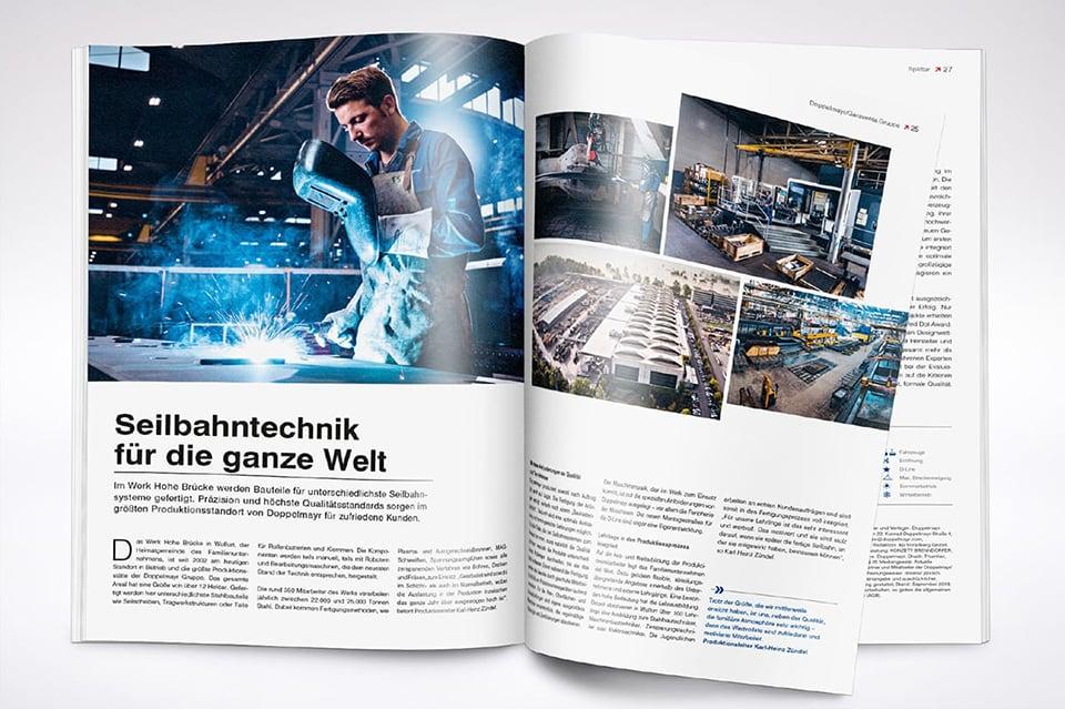 Doppelmayr Kundenmagazin WIR – Innenseite zum Thema Seilbahntechnik für die ganze Welt