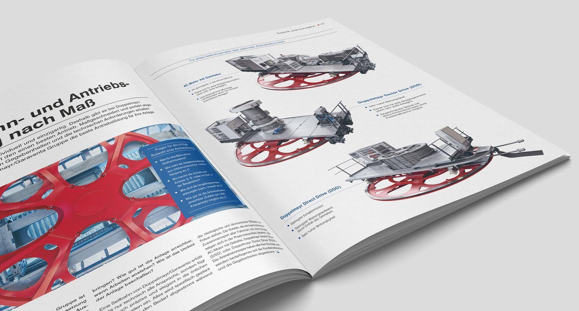 Doppelmayr Kundenmagazin WIR – Innenseite zum Thema Technik und Innovation