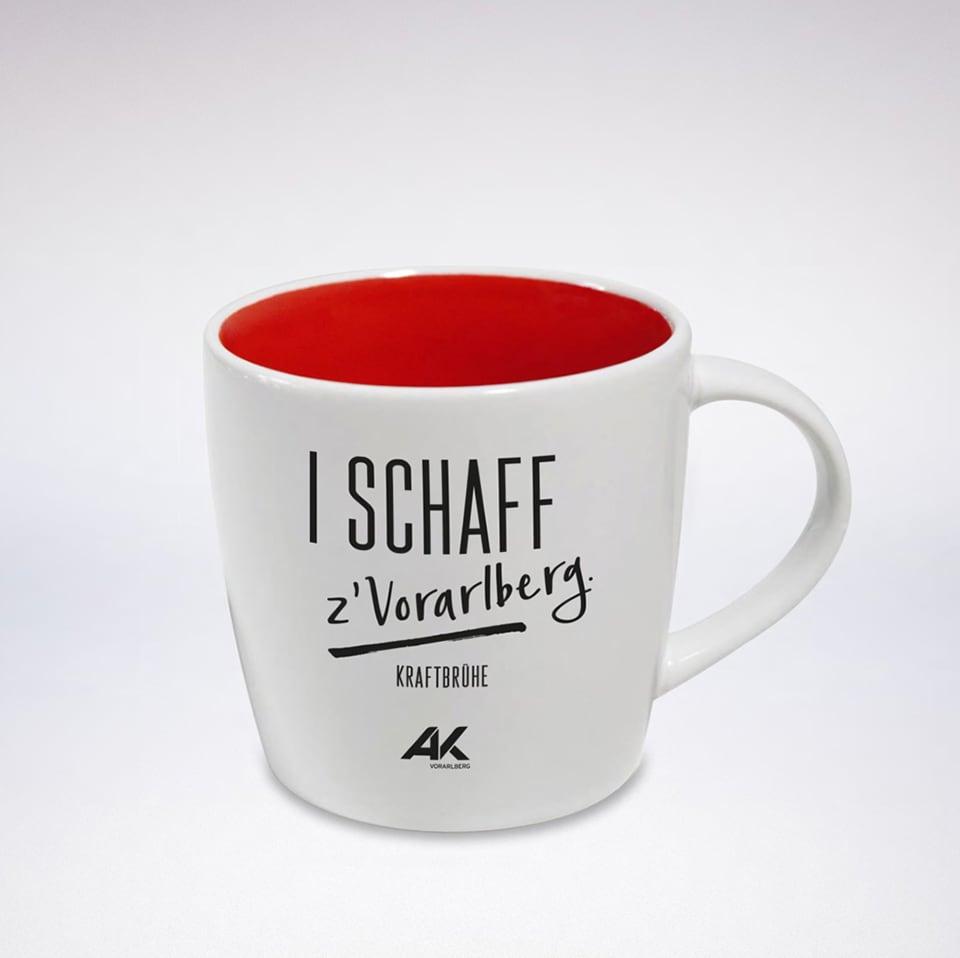 Tasse mit Aufdruck I Schaff z'Vorarlberg
