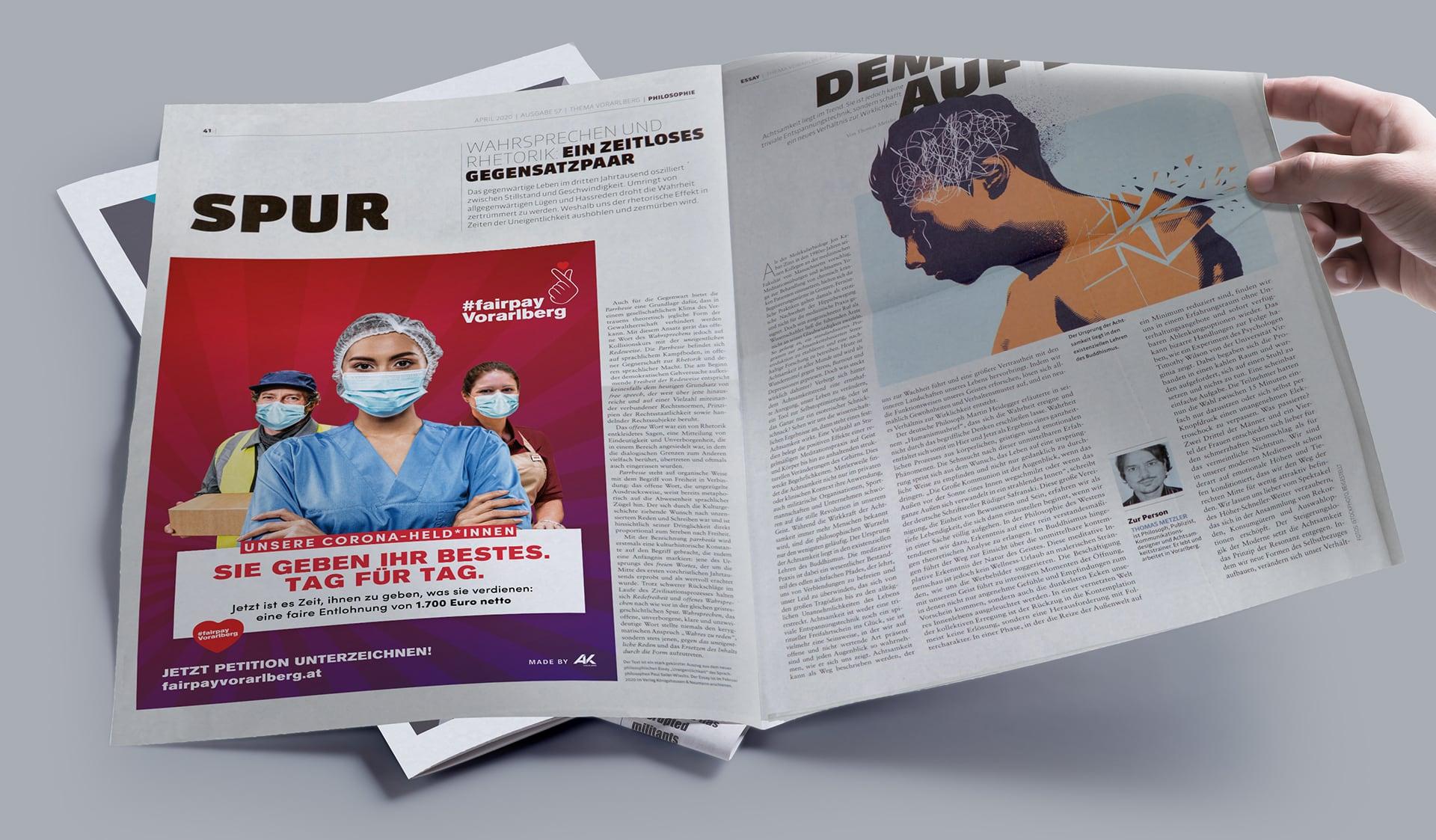 Zeitungsanzeige zur Kampagne