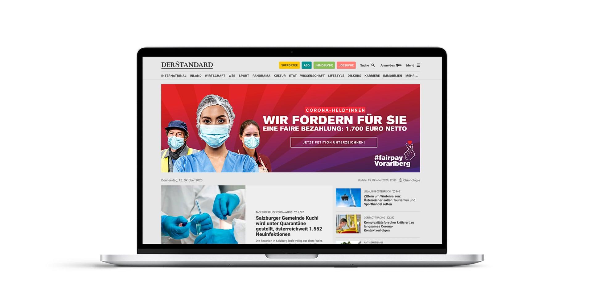 Kampagenenwebsite #fairpay Vorarberg
