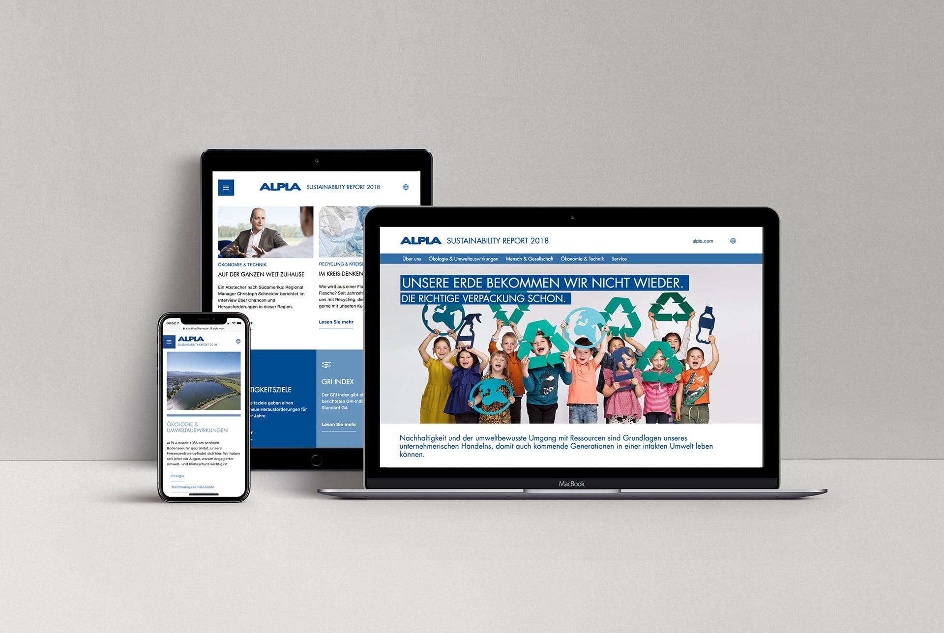 Alpla Nachhaltigkeitswebsite optimier für verschiedene Endgeräte