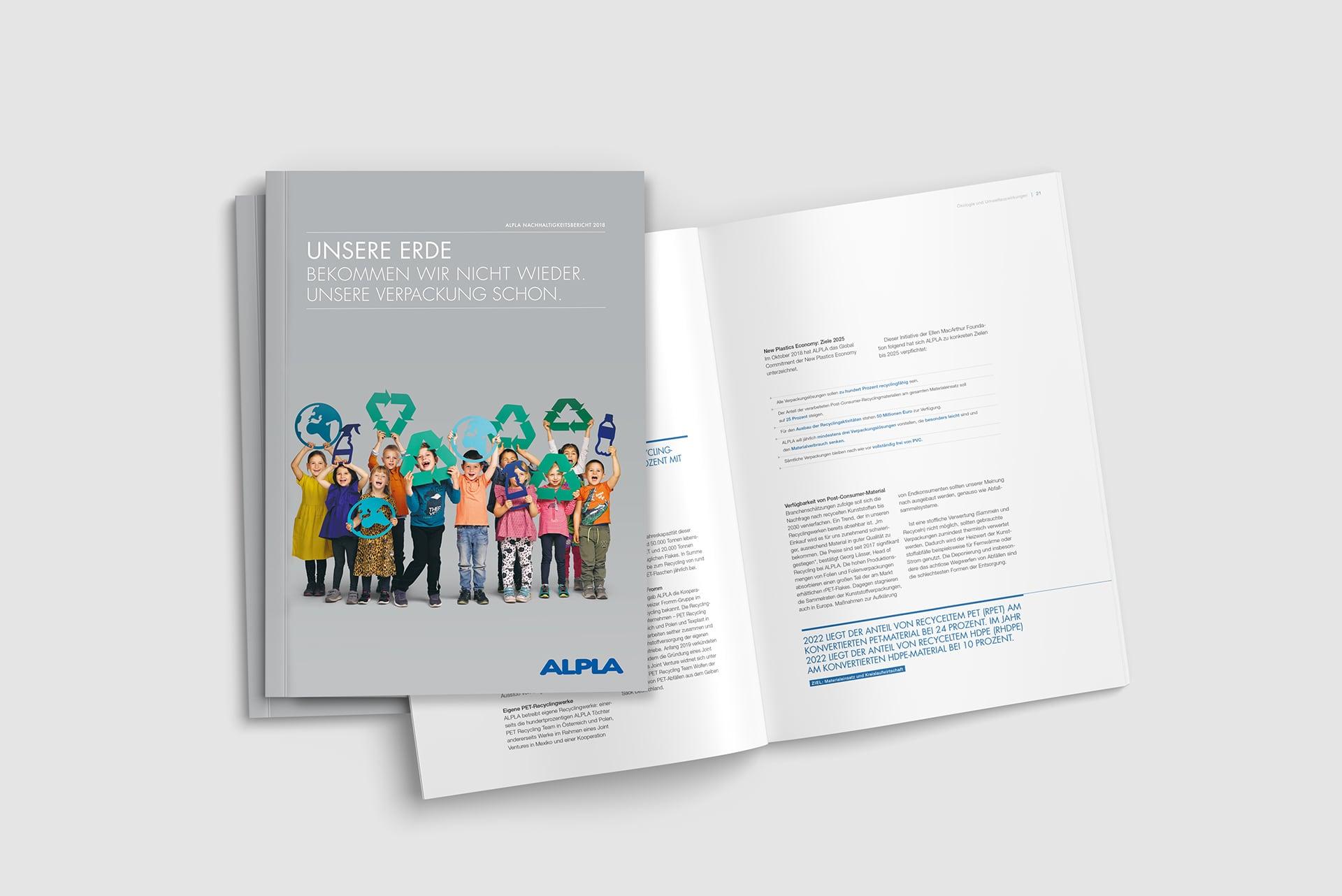 Cover und Innenseite des Alpla Nachhaltigkeitsberichts