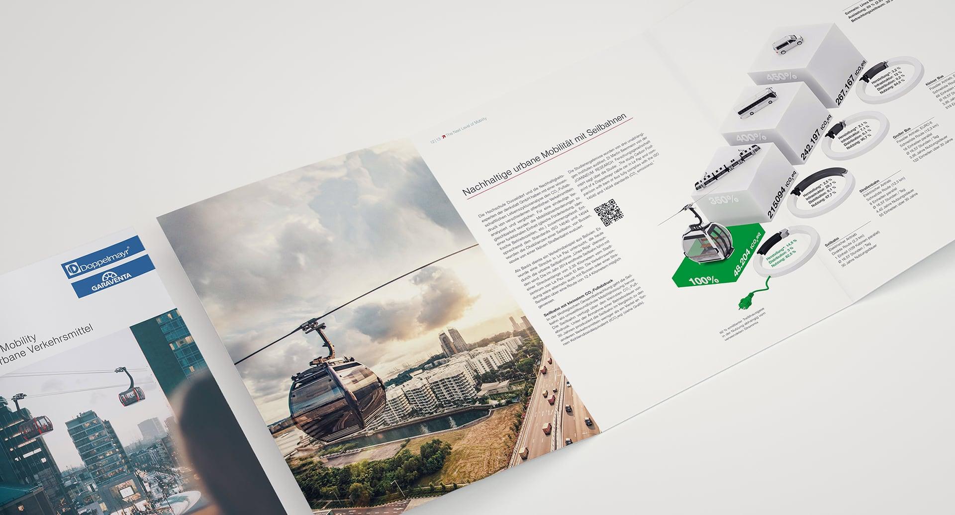 Innenseite Doppelmayr Urbanbroschüre The Next Level of Mobility mit Foto und Grafik