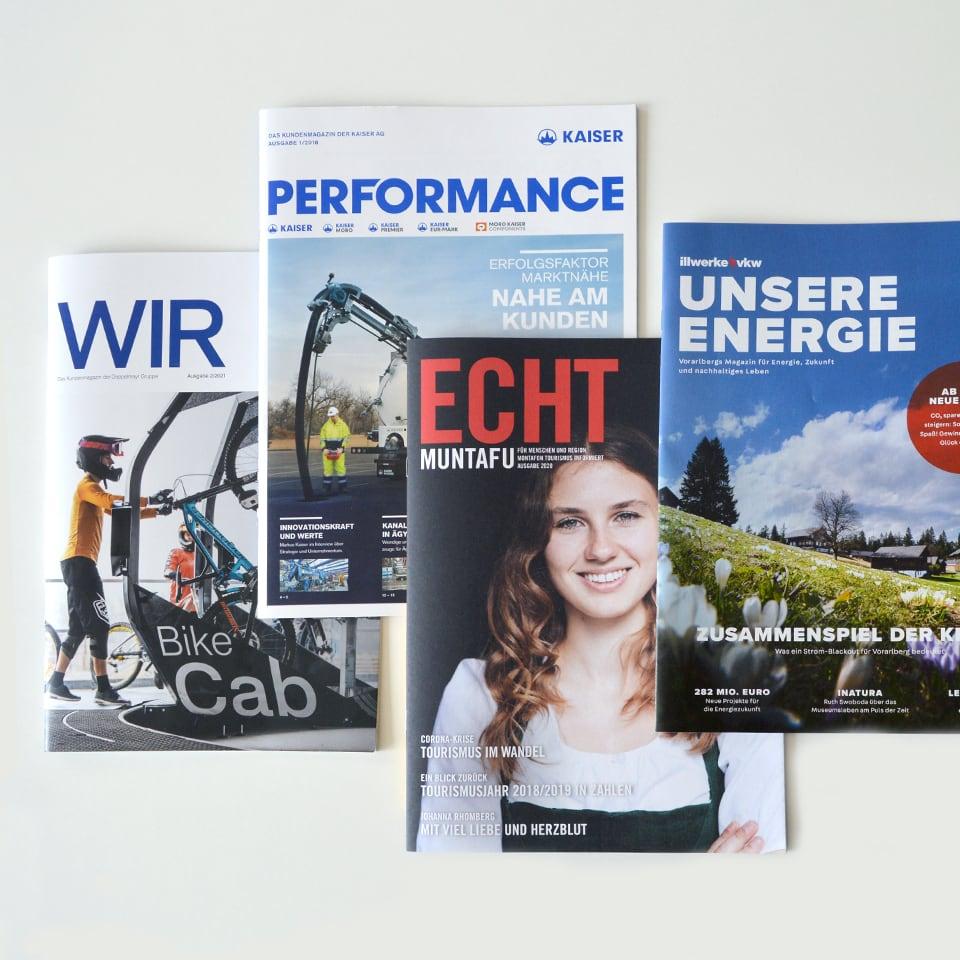 4 Beispiele für erfolgreiche Kundenmagazine aus der Agentur Konzett Brenndörfer.