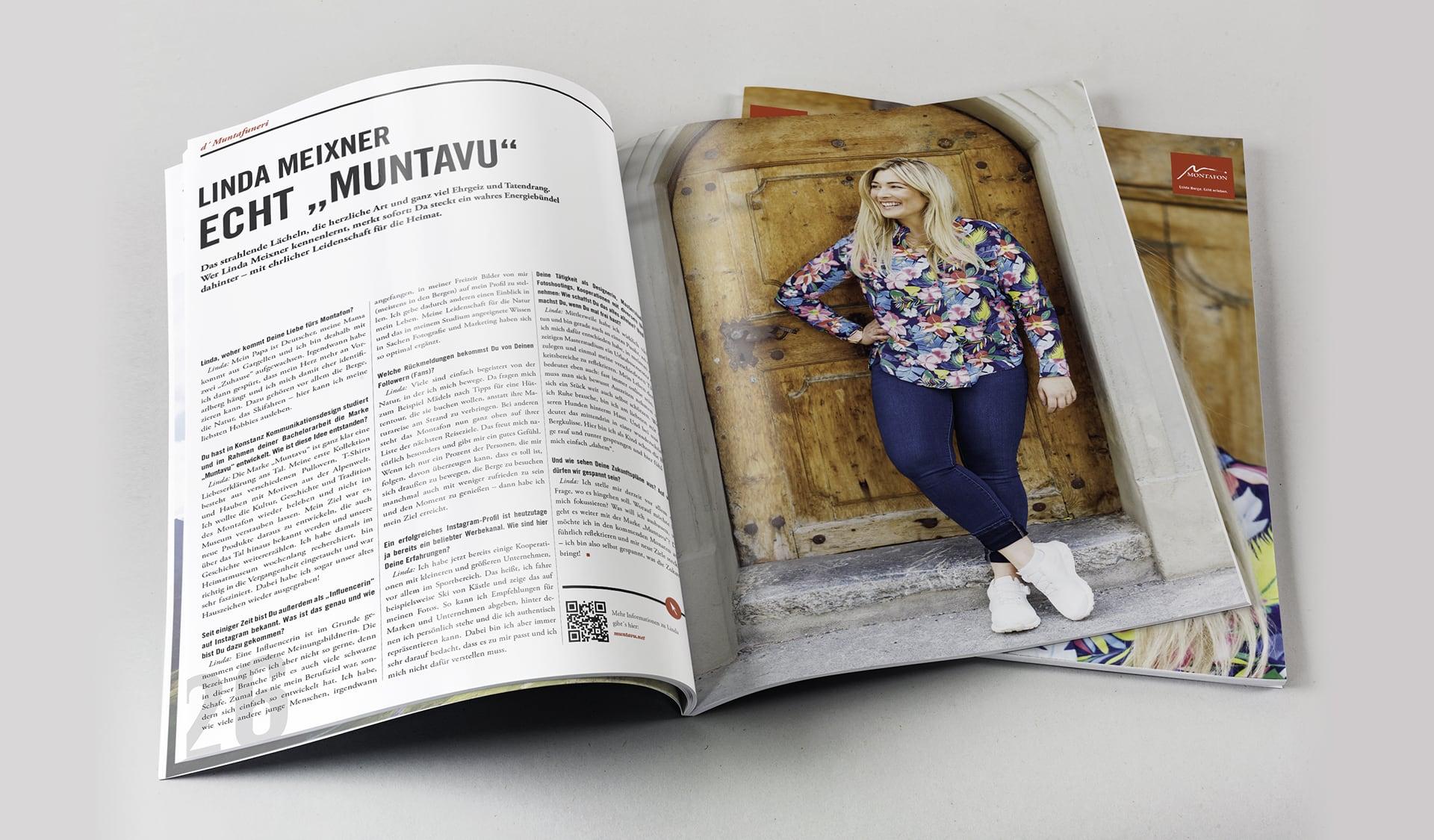 Innenseite im Magazin – Interview mit der Muntafunerin Linda Meixner