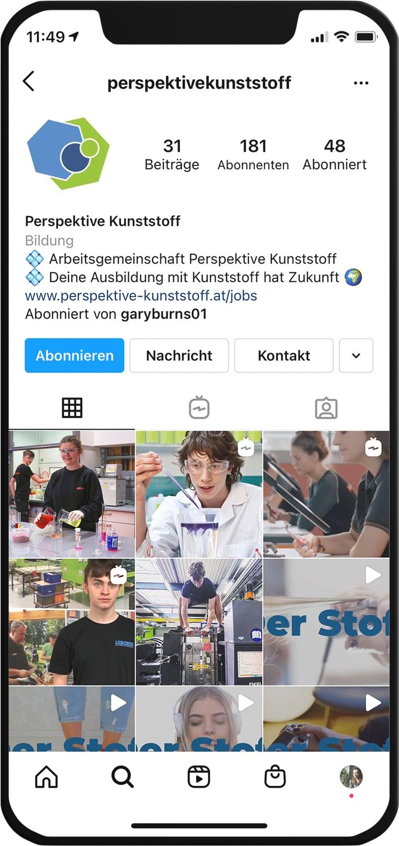 Instagram Feed Perspektive Kunststoff