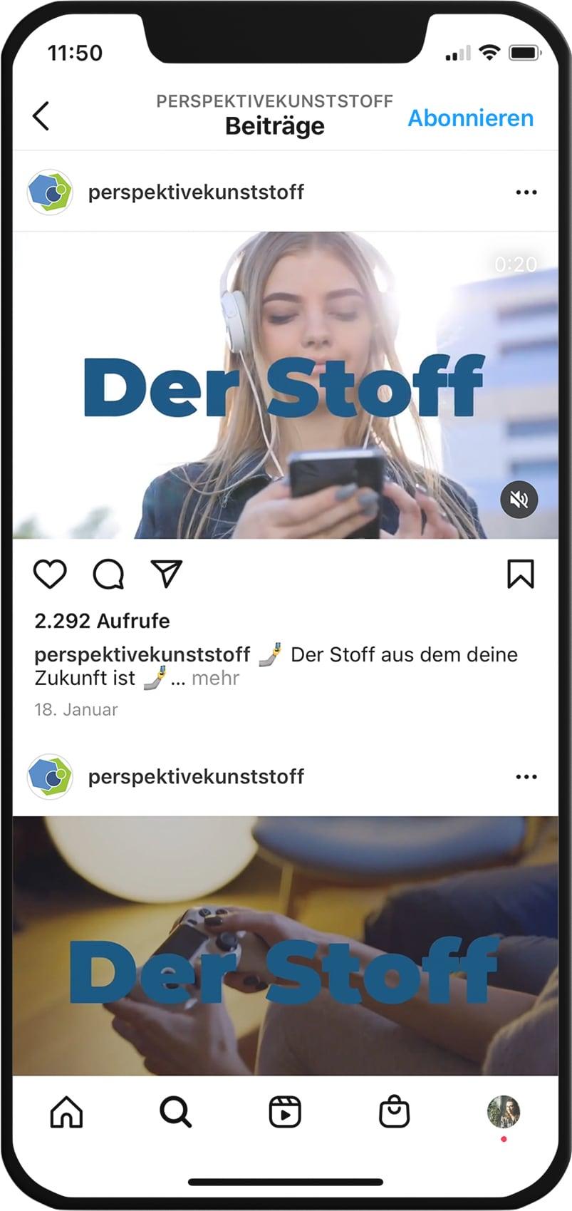 Video auf Instagram Feed